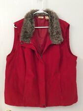 Vintage North Crest Women's Size 2X (20w/22w) Red Corduroy/Fake Fur Collar, Vest