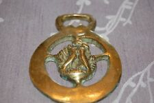 ANTIQUE HORSE HARNESS BRASS BRIDLE ORNAMENT TWO LOVEBIRDS
