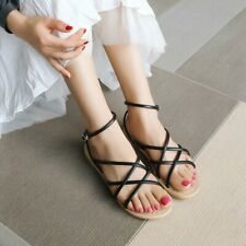Summer Women's Ankle Strap Sandals Strappy Casual Flats Open Toe Shoes Comfort