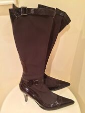 Designer Mario Cerutti Brown Knee High Boots Made In Italy With Heel