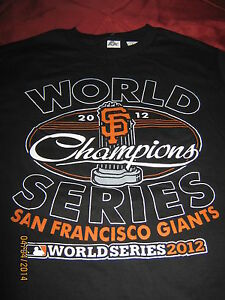 "SF Giants Small T-Shirt Mens 2012 ""WORLD CHAMPION"" Black"