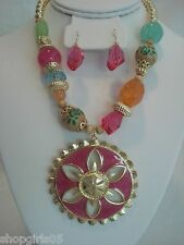 NEW!   CHUNKY/FUN  NECKLACE AND EARRING SET-PINK