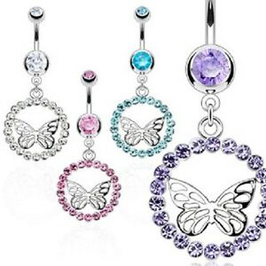 316L Surgical Steel Multi CZ Orb with Center Butterfly Dangle Navel Ring