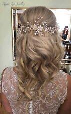 Statement long Bridal wedding hair vine, head piece, pearls Swarovski hairvine