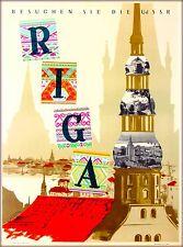 Latvia  Latvian Russia Russian USSR Vintage Travel Advertisement Poster Print