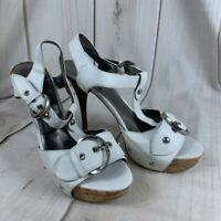GUESS Womens Sandal Stiletto Heels Shoes White Buckle Sexy Studded T-Strap 9 M