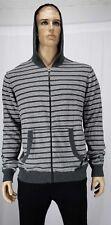 Buffalo david bitton men's stripped hoodie size XL grey & white