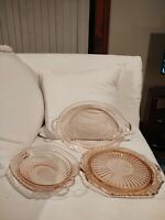 Vintage Depression Glass 3 Pink Serving Pieces Mayfair by Hocking Handles