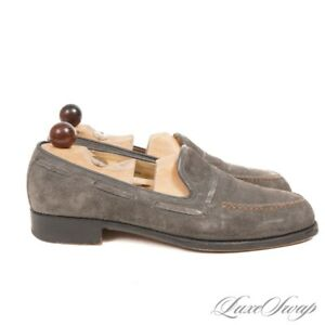 #1 MENSWEAR Vass Budapest Mouse Grey Suede Mocha Topstitched Loafers + TREES 42