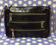 Beautiful REBBECCA MINKOFF Mini Zip Shoulder Cross body/ Cluch Bag Black Gloss