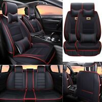 Luxury PU leather Car Seat Covers Set Cushions 5-Seats w/Pillows Accessories US