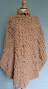 Massimo Dutti Wool/Angora/Cashmere Mix Cable Knit Cape Size Medium