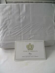 Court of Versailles Elan White Queen Flat Sheet New