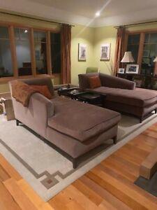 Custom luxury cocoa velvet lounge sofas