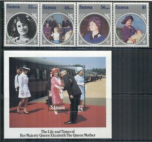 SAMOA 649-53 SG700-03,MS704 MNH 1985 Birthday Queen Mother set of 4+MS Cat$9