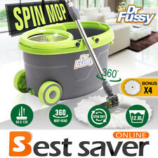 Stainless Steel 360° Spin Mop Rotating Magic Bucket w/ 4 Microfiber Mop Heads