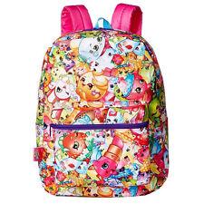"Shopkins Girl's Kids 16"" Large School Backpack All Over Print Canvas School Bag"