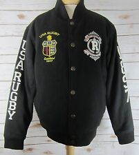 POLO USA RUGBY Men's X-Large XL Black Wool Blend LS Quilted Lining Jacket
