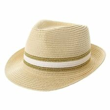 Icing Women's Fedora Hat, Cream, White and Gold Striped