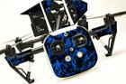 DJI Inspire 1 Quadcopter/Drone, Transmitter, Battery Wrap/Skin | Dk Blue Flames