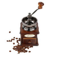 Manual Coffee Grinder Hand Crank Coffee Mill wood Bottom Base With Drawer