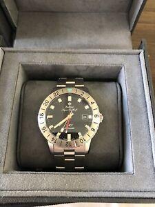 Men's ZODIAC Super Sea Wolf GMT Automatic Stainless Steel Watch, Black, ZO9405