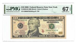 2006 $10 NEW YORK FRN, PMG SUPERB GEM UNCIRCULATED 67 EPQ BANKNOTE