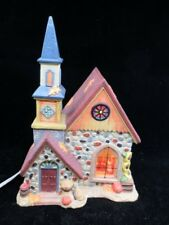 Christmas Village Country Church Porcelain Lighted House Fall Pumpkins Leaves