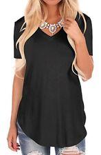 UK Summer Women Short Sleeve T Shirt V-Neck Blouse Ladies Casual Loose Tops 6-18