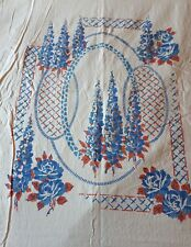 Vintage Block Printed Floral 100% Cotton Throw/Bedspread 225 x 260cm King