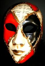 MAR 4 HANDMADE IN ITALY, PAPIER MACHE CARNIVAL, FULL FACE PARTY MASK HARLEQUIN