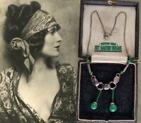 VINTAGE ART DECO JAKOB BENGEL 1930s MODERNIST CHROME GREEN NECKLACE COLLECTOR
