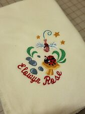 Personalized Embroidery Baby Fleece Blanket With Lady Bug And Dragonfly