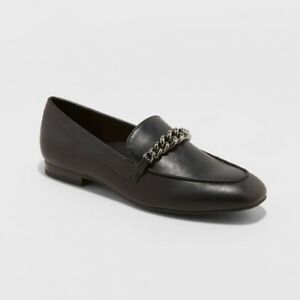 A New Day Black Camile Flat Loafers with Chain Women Size 9.5