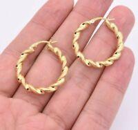 """1 1/4"""" 30mm Twisted Diamond Cut Hoop Earrings 14K Yellow Gold Clad Silver 925"""