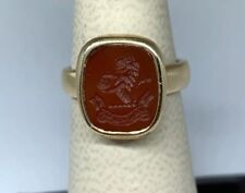 Vintage Chinese 14k Yellow Gold Carved Carnelian  Dragon Ring
