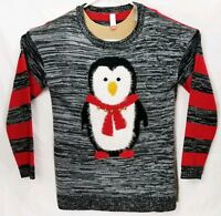 No Boundaries Womens XXL Cute Winter Ski Sweater Penguin Crewneck Black Red EUC