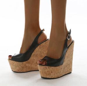Womens Wedges Ankle Strap Sandals Peep Toe High Heels Platform Roman Shoes Party