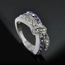Crystal New Criss Cross White Gold Filled Rings 6-10 Size Ring Jewelry