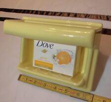 "Vintage *Citrus Yellow* Ceramic Recessed Soap Dish with Grab Bar, 5"" X 7""  ""NOS"""
