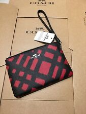 Coach F23715 Medium Size Wristlet CHALK BLACK &RED MULTI Signature  NWT