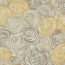 Kravet Yellow Abstract Circles Linen Print Upholstery Fabric Spiro Beach 1.5 yd