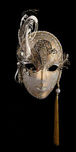 Masque de Venise Visage Luxe Doré papier Mâché Métal Strass Swarovski 2485