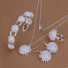 beautiful Fashion sterling silver Pretty flower Earring Bangle Ring Necklace set