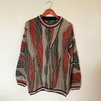 Vintage Tundra Canada Size L Large Red Tan & Black Coogi Inspired Sweater Men's