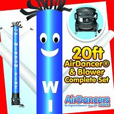 New listing Blue & White Window Tint Air Dancer Ψ & Blower 20ft Tube Man Sky Dancer Set