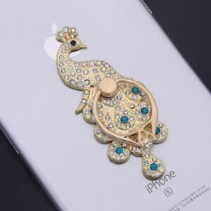 Lilidreamstore 360 Rotating Crystal Cell Phone Finger Ring Stand Holder -Peacock
