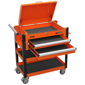 Sealey AP760MO Heavy-Duty Mobile Tool & Parts Trolley 2 Drawers & Lockable To...