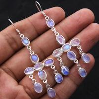 "925 Sterling Silver Natural Oval Rainbow Moonstone Gemstone Dangle Earrings 2.8"""