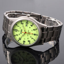 Noctilucent Dial For Dark Night Mens Date Quartz Metal Band Wrist Watch W060